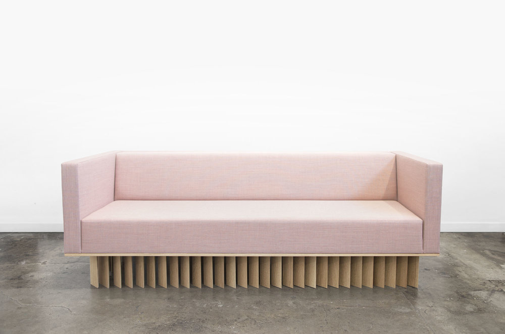 Angled Wood Bar Sofa