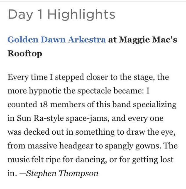 FUCKIN A RIGHT THANK U @nprmusic @tinydesk #sxsw2016 #goldendawnarkestra #stargazer #supportsurrealshit💯