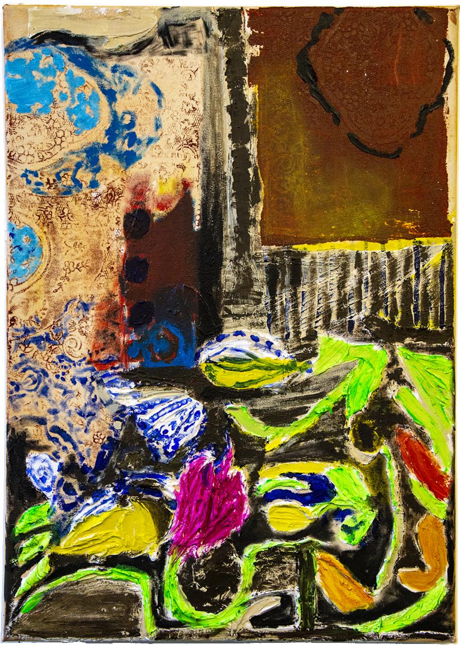 Broken vase, acrylic and paste on canvas, 50 x 70 cm, 2018.