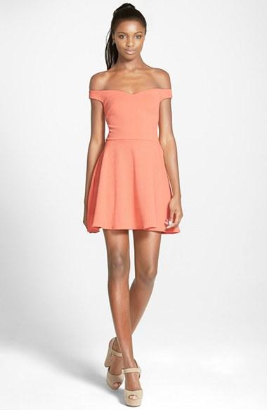 Peach off shoulder dress.jpg