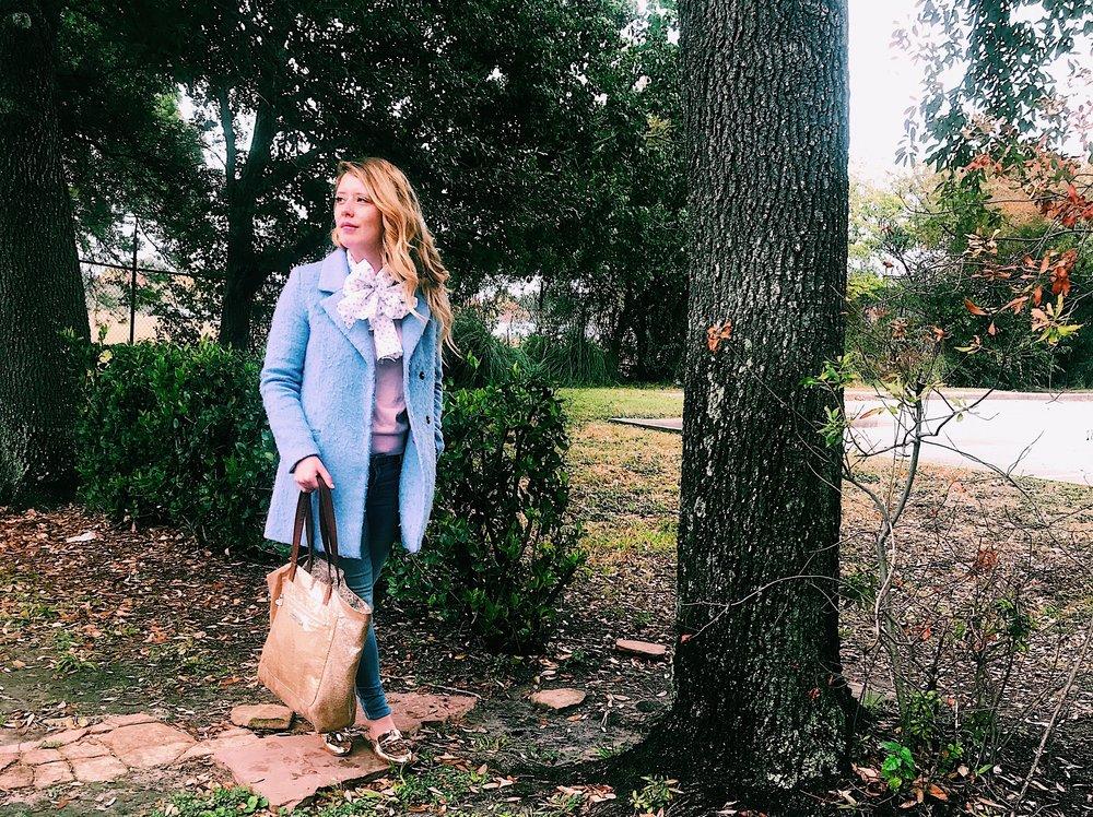 Three Heel Clicks - Pale Blue Coat and Polka Dot Scarf (3).jpg