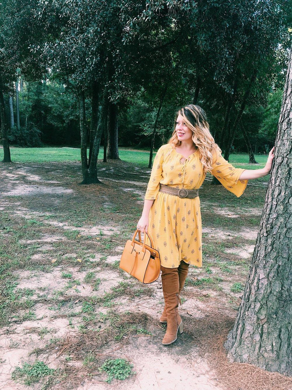 Three Heel Clicks - Mustard Dress at the Rainbow Lodge (14).jpg