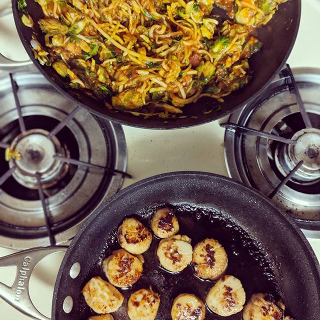 Zucchini brussel sprout noodles with scallops on top! So good tonight!! #vegetables #brusselsprouts #zuchinninoodles #scallops #lowcarb #paleo #dinner #easy #delicious #momtrepreneur #nutritioncoach