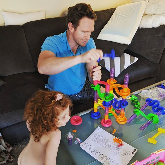 That engineering degree has really paid off today!! #thanksdaddy #engineer #noteasytoputtogether #marbles #puzzle #easytoassemblemybutt #fatherdaughter #dads #toddlerlife #toys