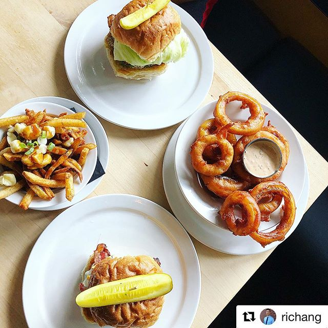 What a great shot 😱🤤#Repost @richang with @get_repost ・・・ The Smoke Show Burger & Good Morning Saigon Burger @thecannibalcafe + Onion rings & Poutine
