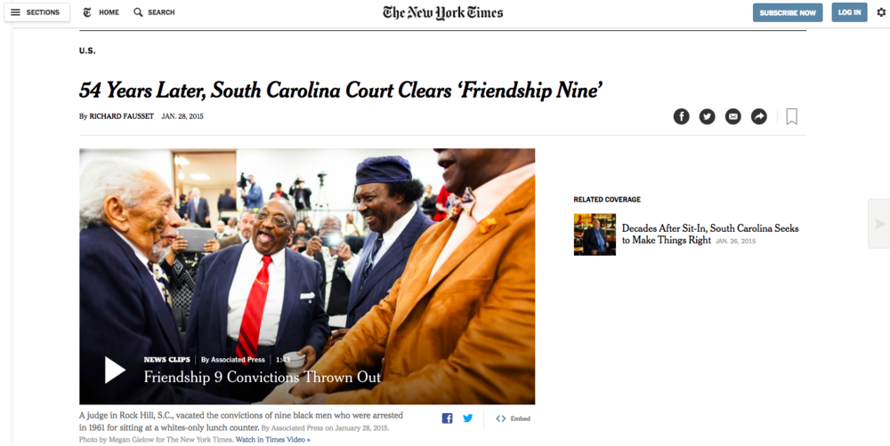 New York Times:  54 Years Later, South Carolina Court Clears 'Friendship Nine'
