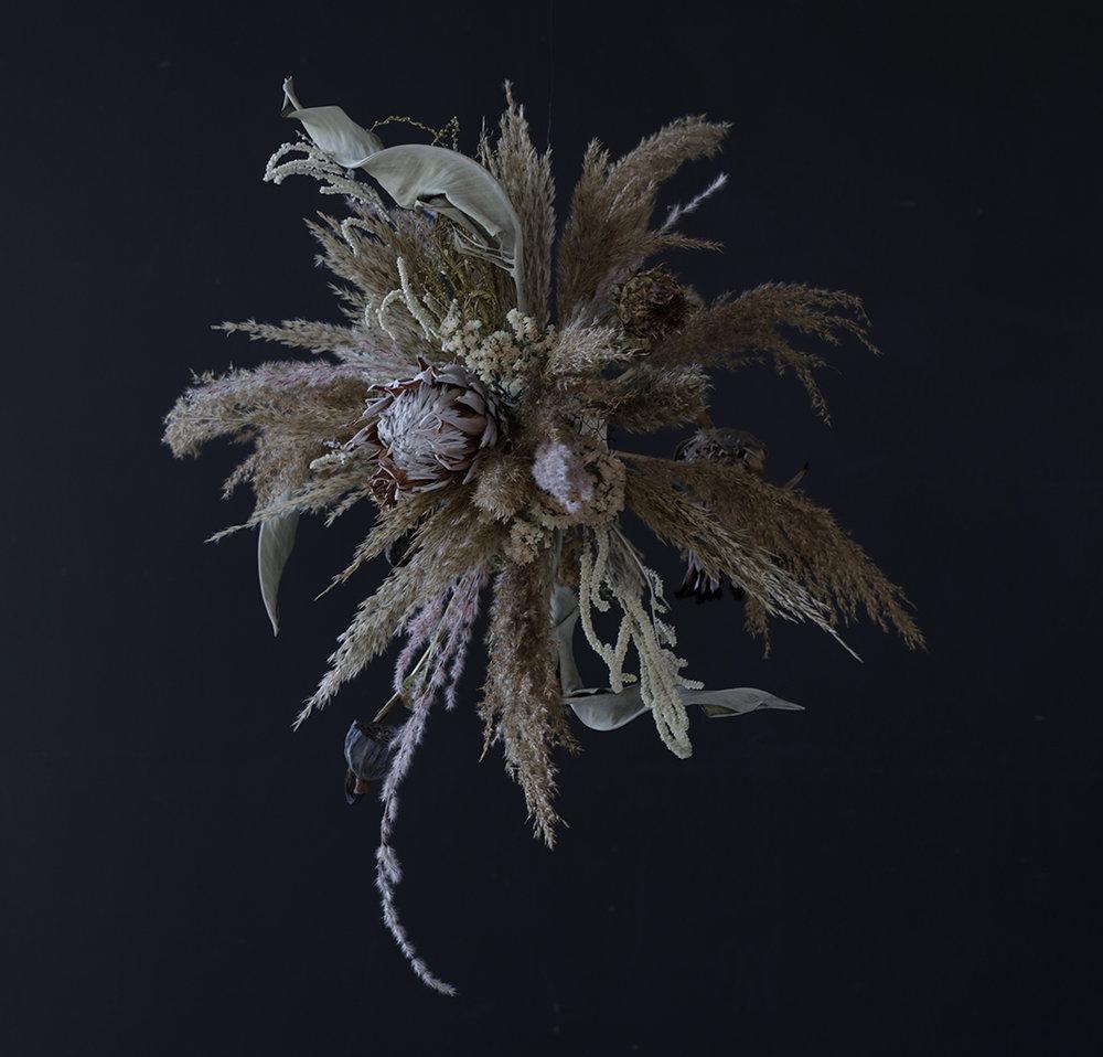 Flower installation and image by STILKEN OG STROM