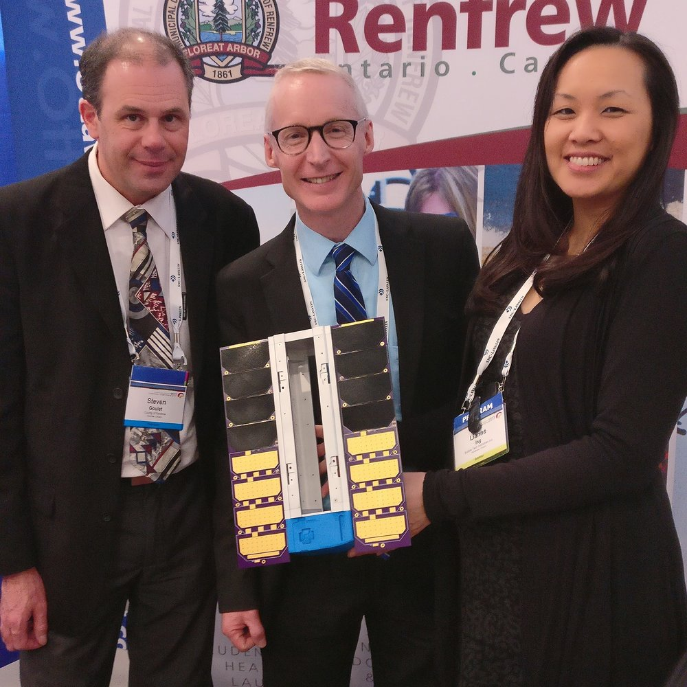 Steven Goulet and David Wybou from County of Renfrew, and Lianne Ing, VP of Bubble Technology Industries