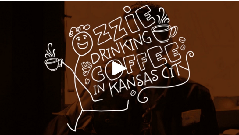 Ozzy Drinking Coffee in Kansas City: The Filling Station