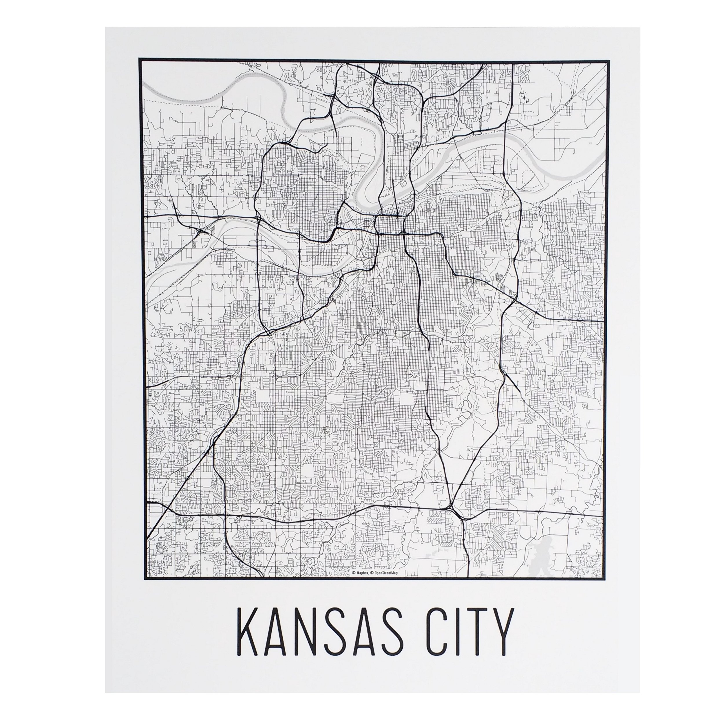 Flint & Field Kansas City Map Print White — Made in Kansas City