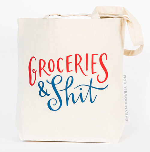 Simply Gifted:  Tote roundup featuring this tote by Emily McDowell Studio. Easy gift idea and gift wrap idea.