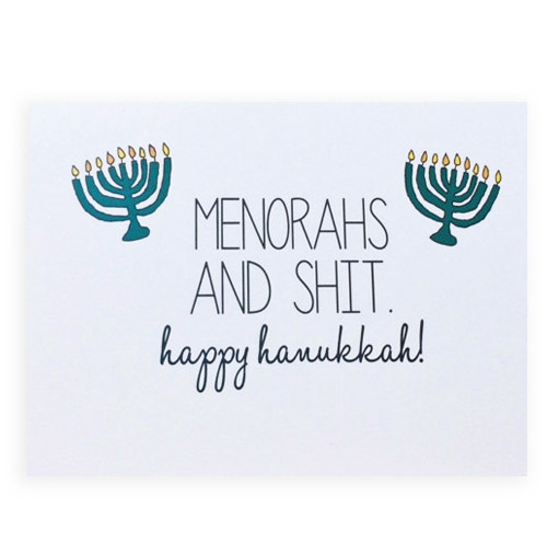 Simply Gifted:  Funny Hanukkah card by BE Paperie.