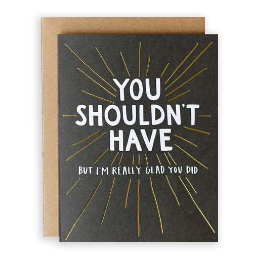 Simply Gifted:  Thank you card roundup featuring this card by One Canoe Two Letterpress.