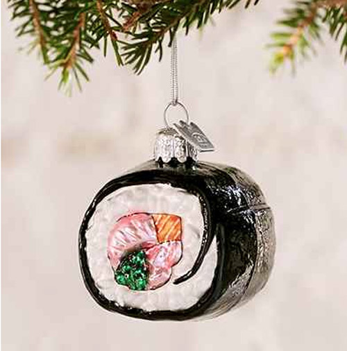 Simply Gifted:  Sushi ornament by Urban Outfitters.