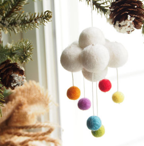 Simply Gifted:  Felt rainbow rain cloud ornament by Fairy Folk.