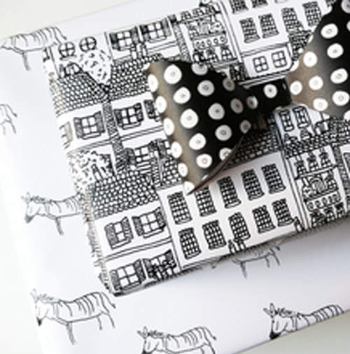 Simply Gifted: Wrapping paper from Kate Zaremba Company.