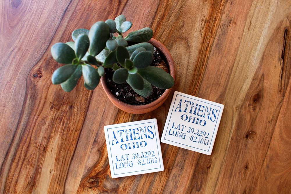 Custom coasters with coordinates of a favorite place.