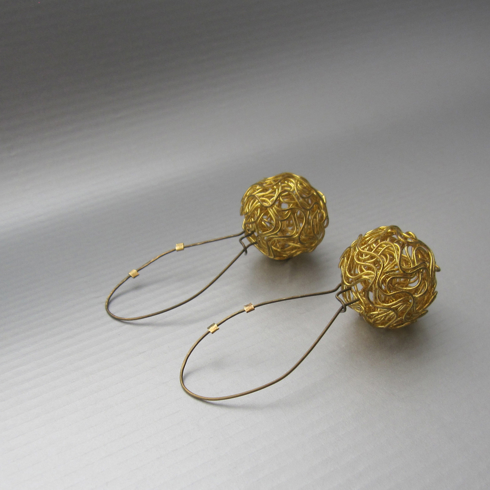 nido earrings in reclaimed bronze and brass (2.5 in in length)