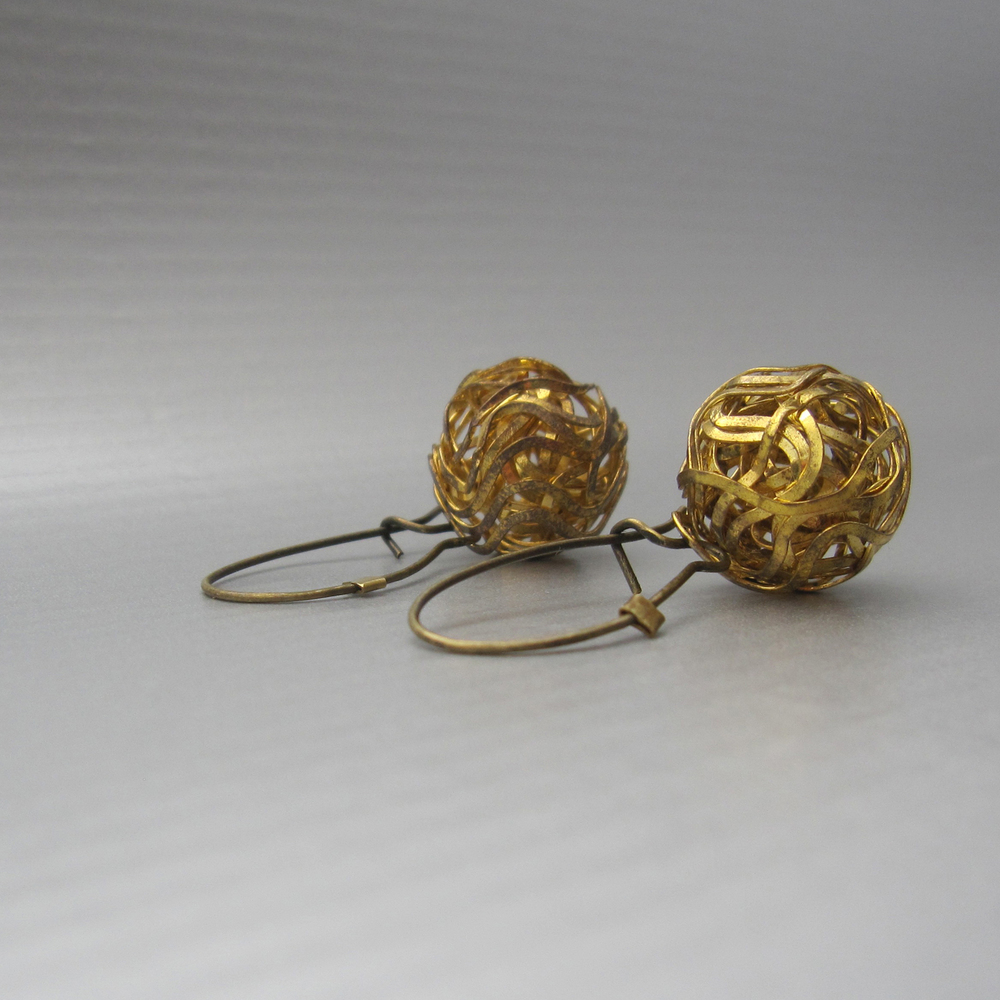 nido di fieno earrings in reclaimed bronze and brass (1.5 in in length)