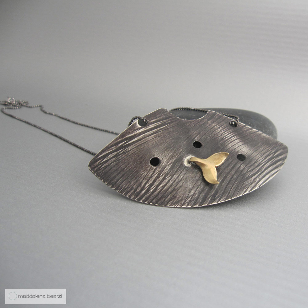 Handmade, one of a kind necklace in reclaimed silver and bronze by Maddalena Bearzi