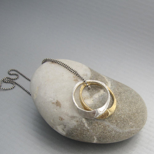amazon ring dp rings double interlocking minimalist gift entwined com circle pendant necklace