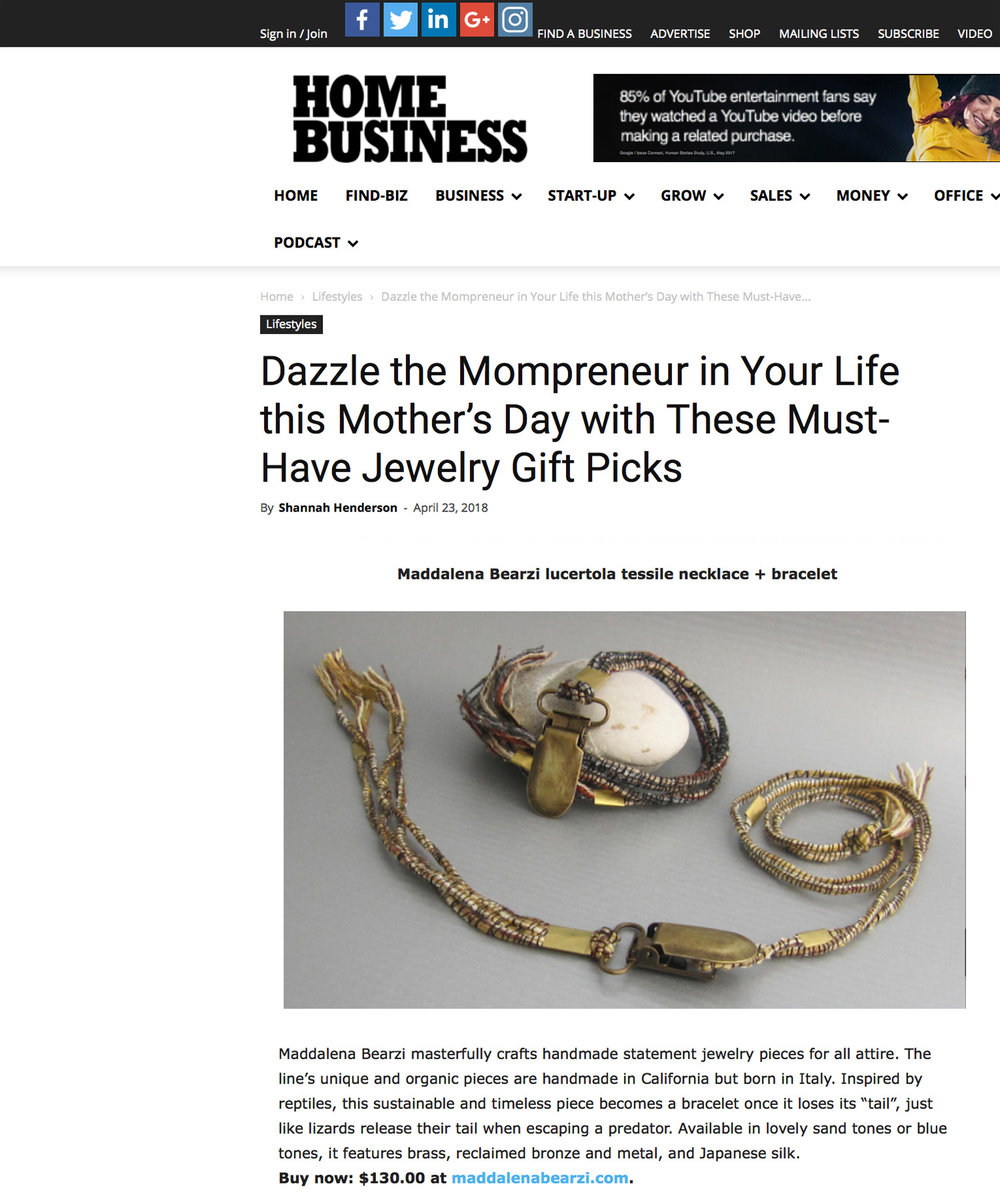 A must have gift for Mother's Day: the lucertola necklace featured in  Home Business Magazine