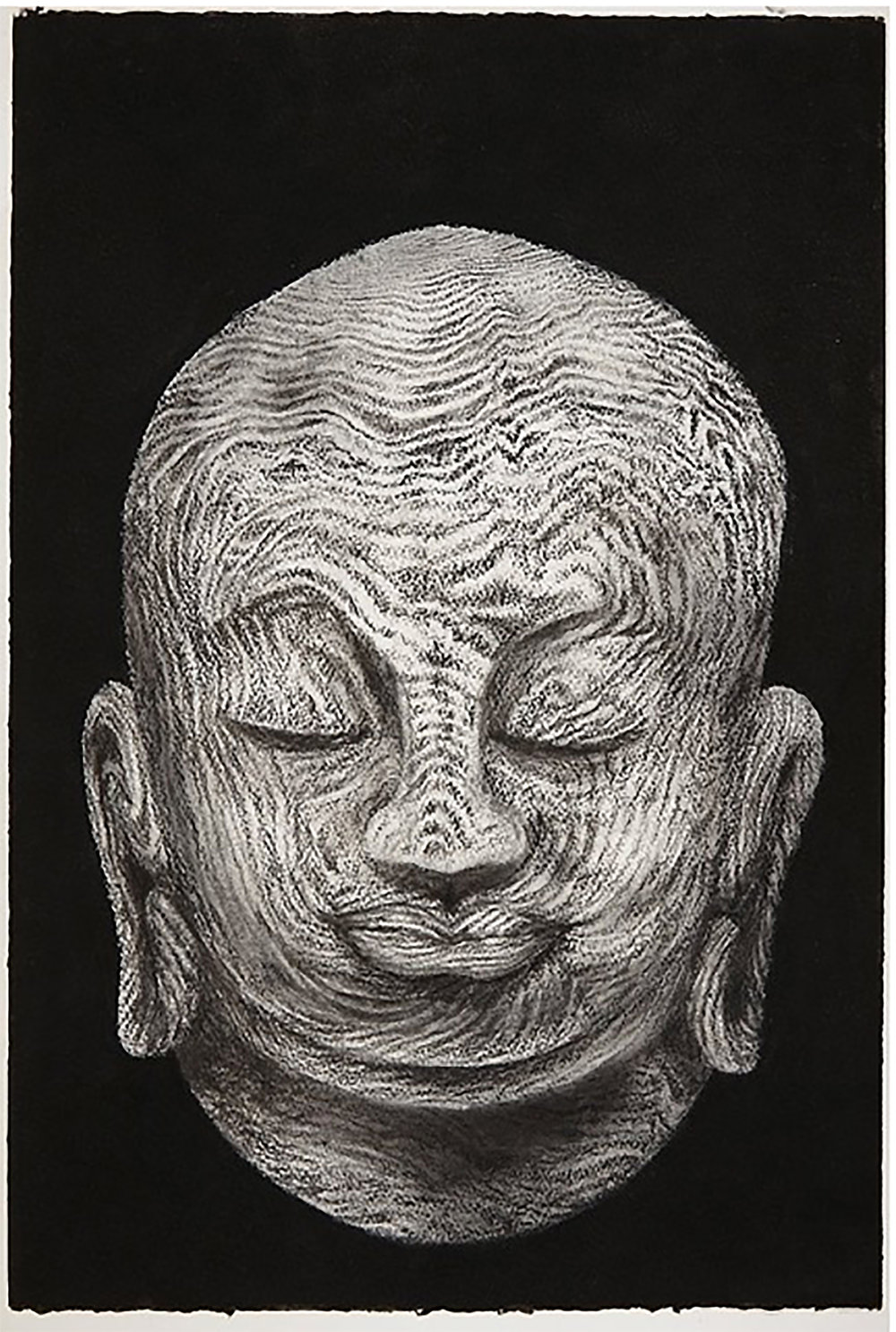 Buddha head 2, 2015, 57x38cm, charcoal on paper