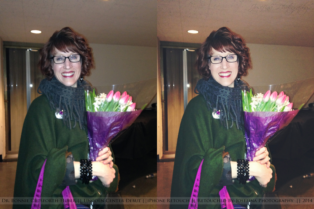 Before & After of Dr. Bonnie Cutsforth-Huber at Avery Fisher Hall, Lincoln Center - March 2014