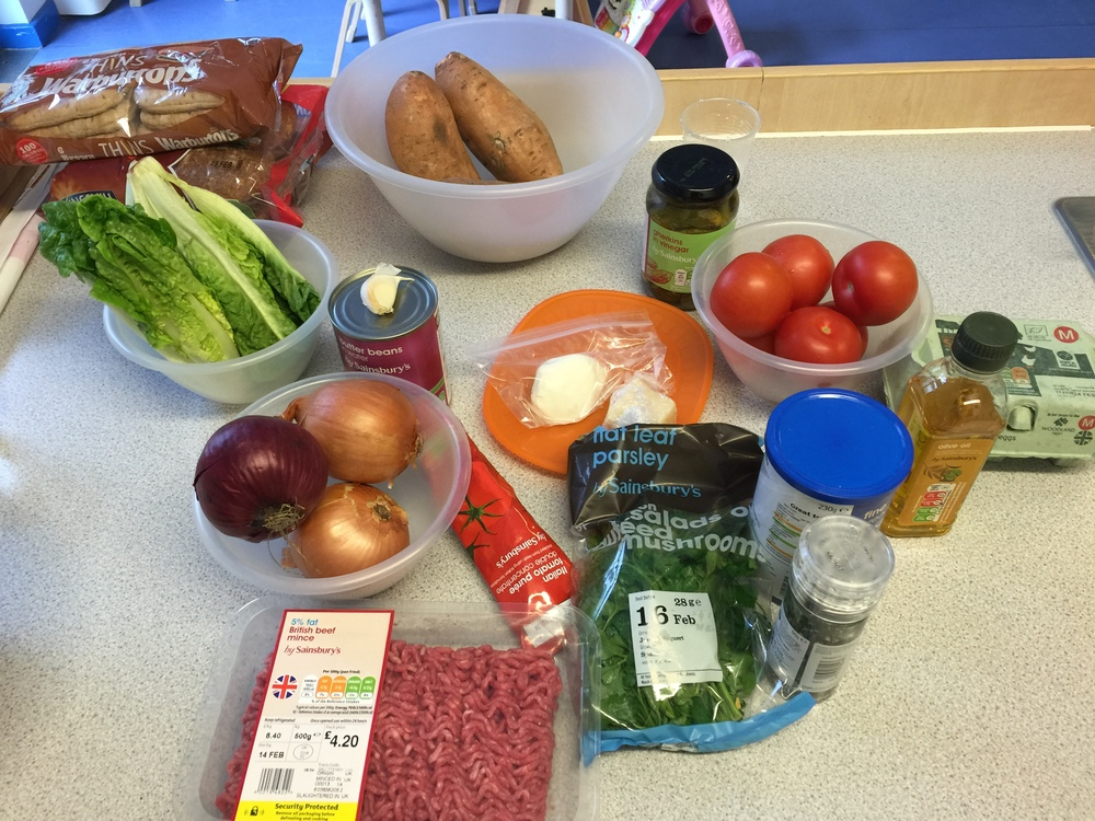 ingredients for the burgers and sweet potato chips