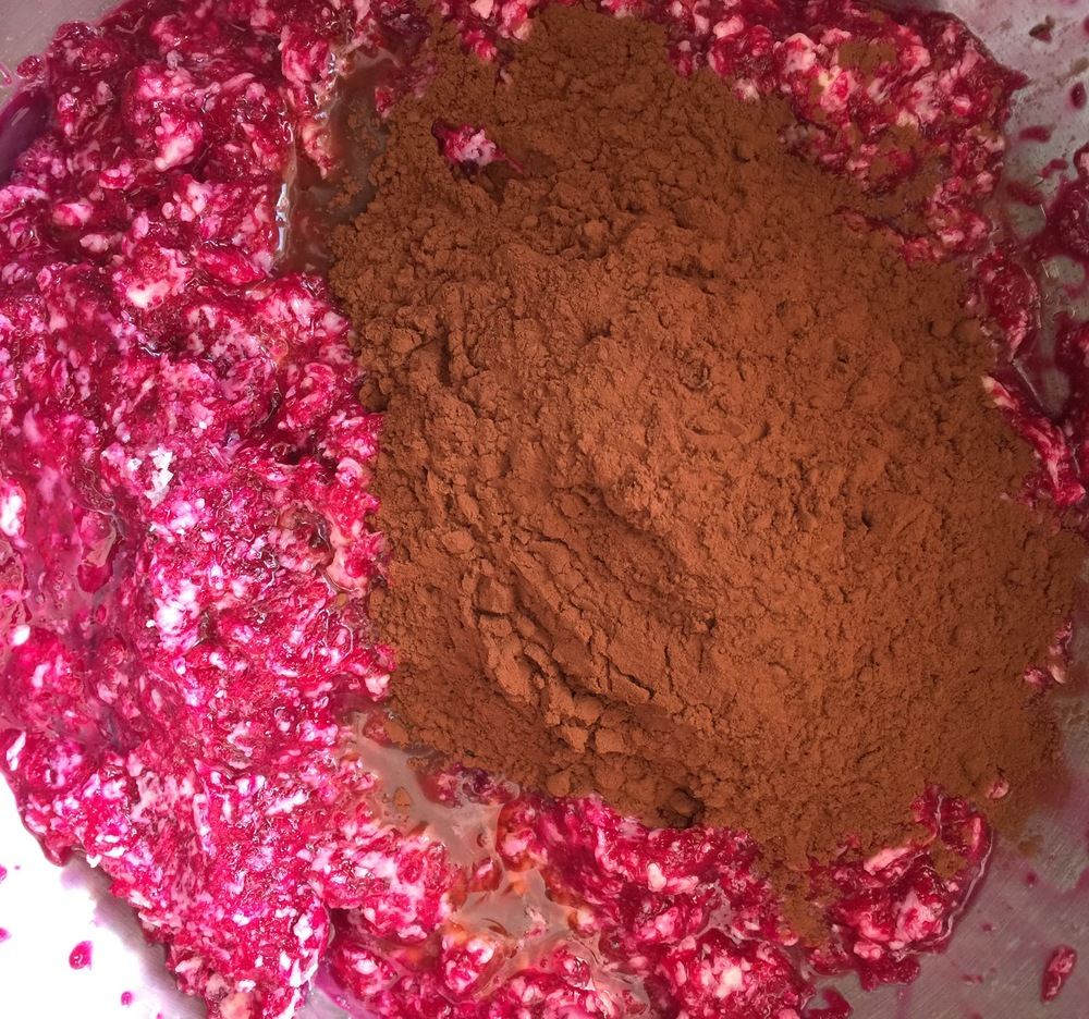adding the organic cocoa to the mixture