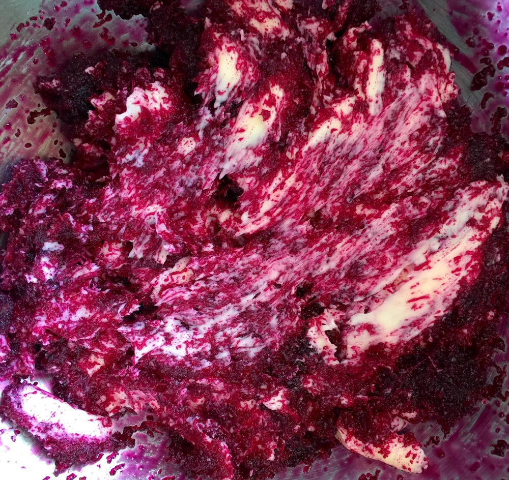 creaming the beetroot jam and butter