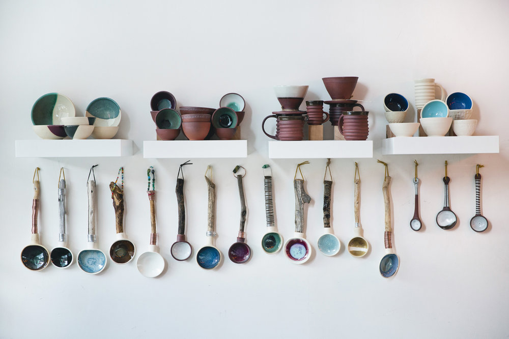 Stubborn Dog Pottery  from Kristen Gentilucci (IG:  @kgentilucc ) - These ceramic spoons are crafted with wooden handles. They are made from foraged driftwood and weathered tree branches from the high Sierras and local beaches. For sale at Tara's Organic Ice Cream Shop - 3173 College Ave Berkeley