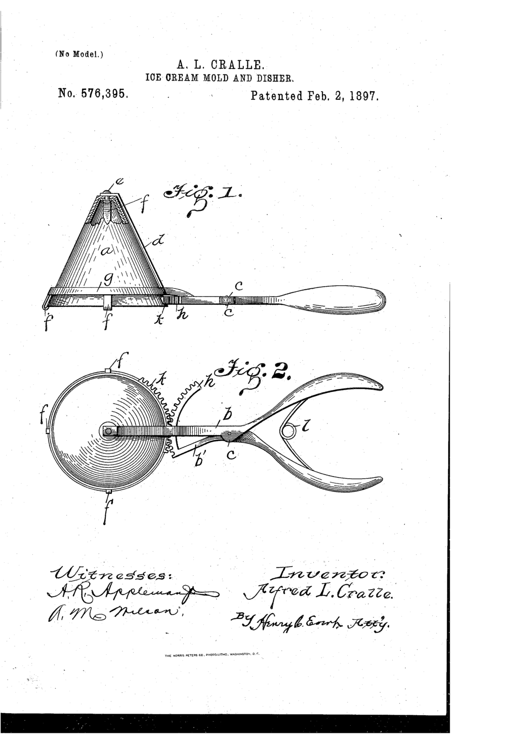 "Cralle's ""Ice Cream Mold and Disher"" patent"