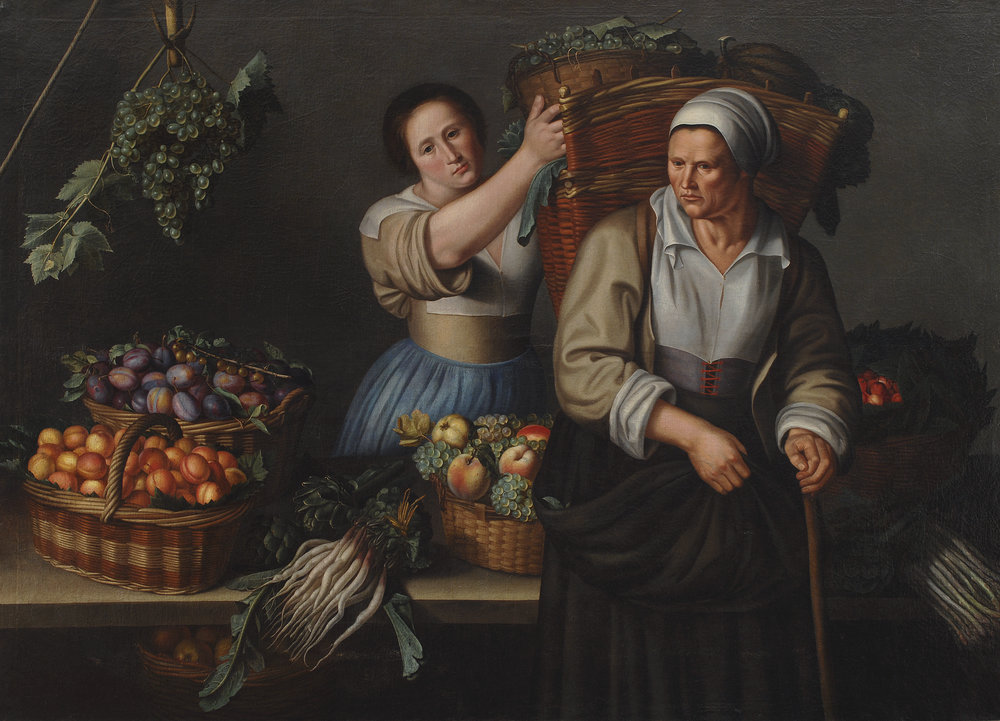 A Market Stall with a Young Woman Giving a Basket of Grapes to an Older Woman, Louise Moillon, c. 1630