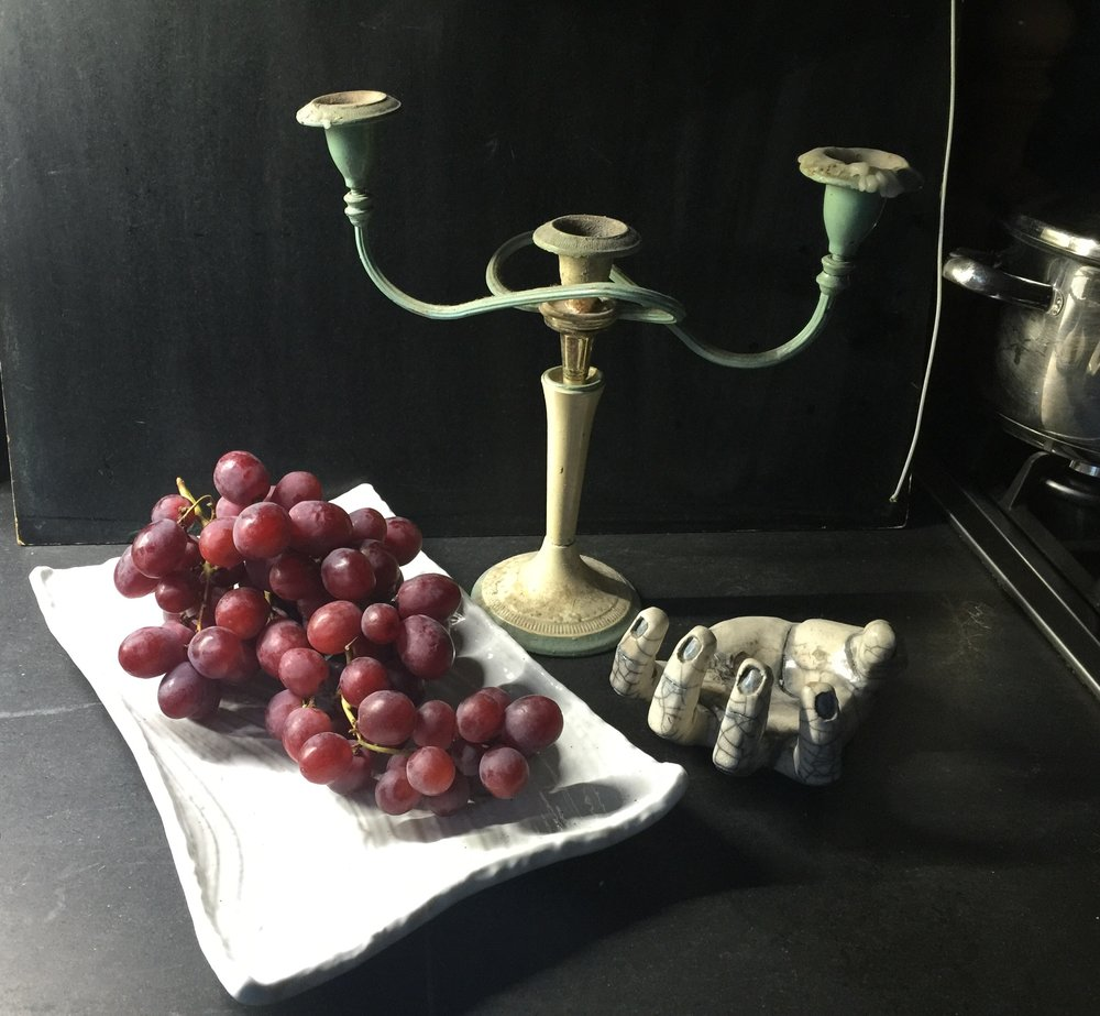 initial study for my Still Life with Grapes mixed media painting