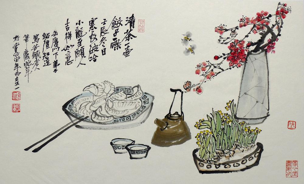 Shaoqiang Chen   -  Dumplings and Plum Blossoms featuring jiaozi