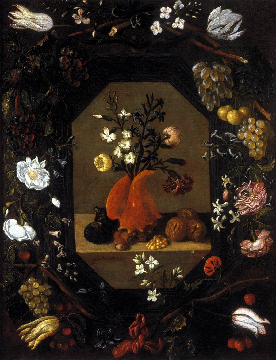 Juan Bautista de Espinosa (1590–1641) A Bouquet of Flowers in a Conch Shell with Nuts and Figs Surrounded by a Wreath of Flowers and Fruit, c. 1645