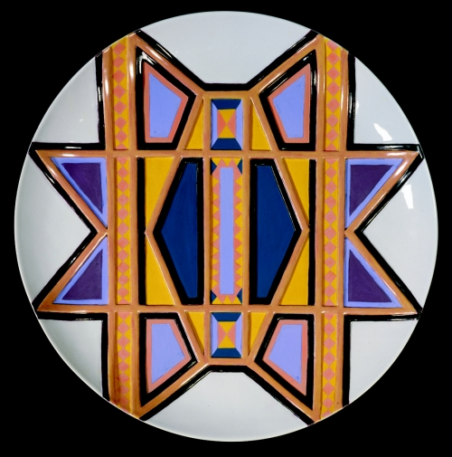 Judy Chicago (American, b. 1939). The Dinner Party (Sacajawea plate), 1974–79. Porcelain with overglaze enamel (China paint) and acrylic matte paint, tanned deerskin, beads, 25 1/8 × 14 × 2 1/2 in. (63.8 × 35.6 × 6.4 cm). Brooklyn Museum, Gift of the Elizabeth A. Sackler Foundation, 2002.10. © Judy Chicago. (Photo: © Donald Woodman
