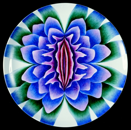 Judy Chicago (American, b. 1939).  The Dinner Party  (Sappho plate), 1974–79. Porcelain with overglaze enamel (China paint), 14 × 15 × 1 in. (35.6 × 38.1 × 2.5 cm). Brooklyn Museum, Gift of the Elizabeth A. Sackler Foundation, 2002.10. © Judy Chicago. (Photo: © Donald Woodman)