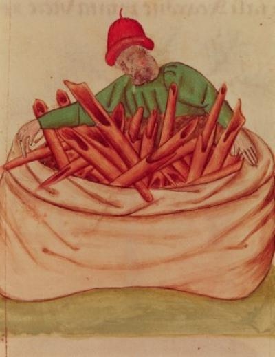 Cinnamon Merchant, from 'Tractatus de Herbis' by Dioscorides (vellum), Italian School, (15th century) / Biblioteca Estense, Modena