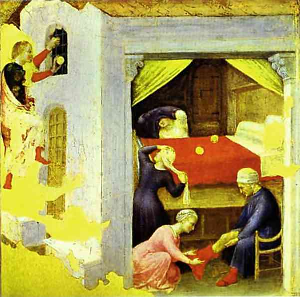 Three Gold Balls, Gentile da Fabriano's ,1425. San Niccolo, Florence From the predella of the Quaratesi triptych