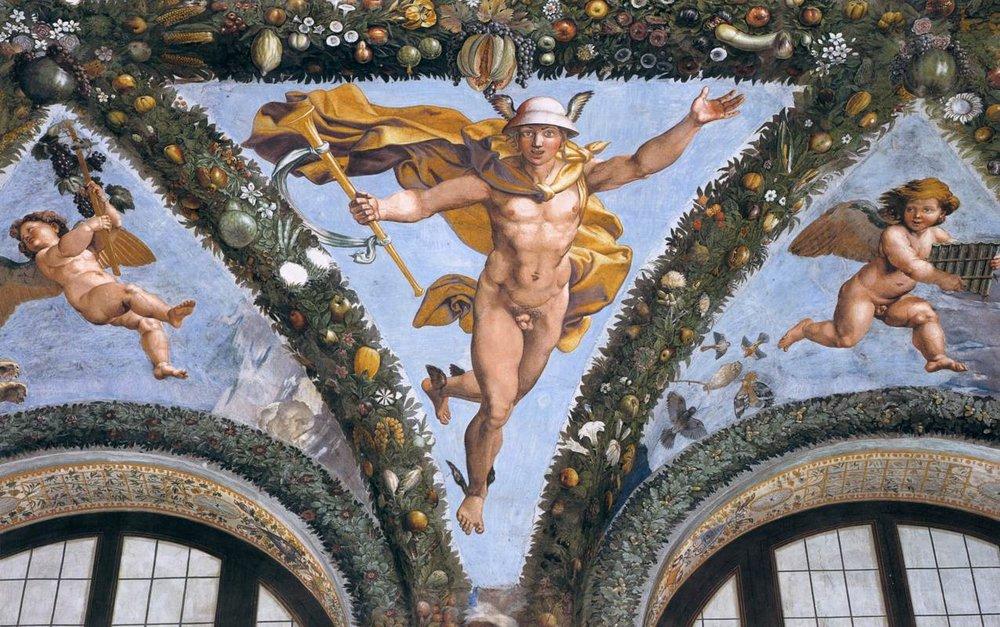 Mercury, Giovanni da Udine from the Villa Farnesina, 1517.