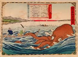A block print depicting the folklore tale of Akkorokamui from Hokkiado, Japan, date and artist unknown