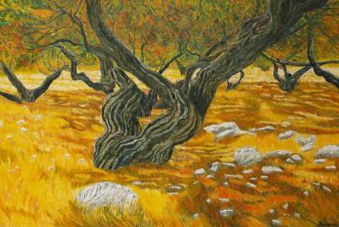 Lentisco (Mastic tree) by  Elisabetta Duminuco  (born Venice 1963 -) (IG:  duminucoelisabetta ) from  Saatchi Art  Oil on canvas 70 x 120 x 6 cm (27.6 x 47.2 x 2.4 in)
