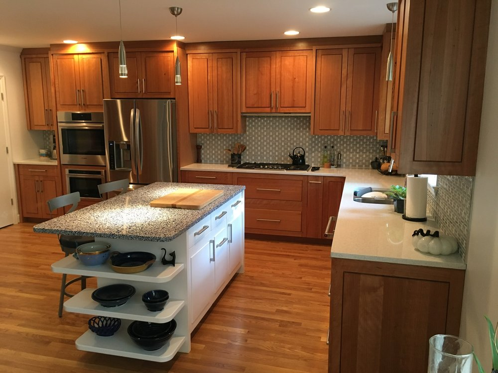 Full Height Kitchen Cabinets In Quartersawn Cherry, With Modern  White Finish Island