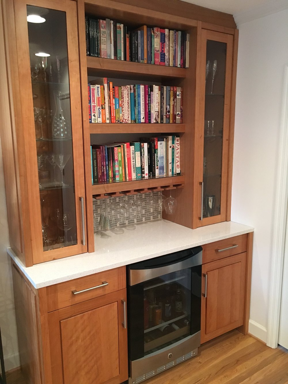 Drink Bar With Full Height Glass Door Cabinets, Wine Glass Rack