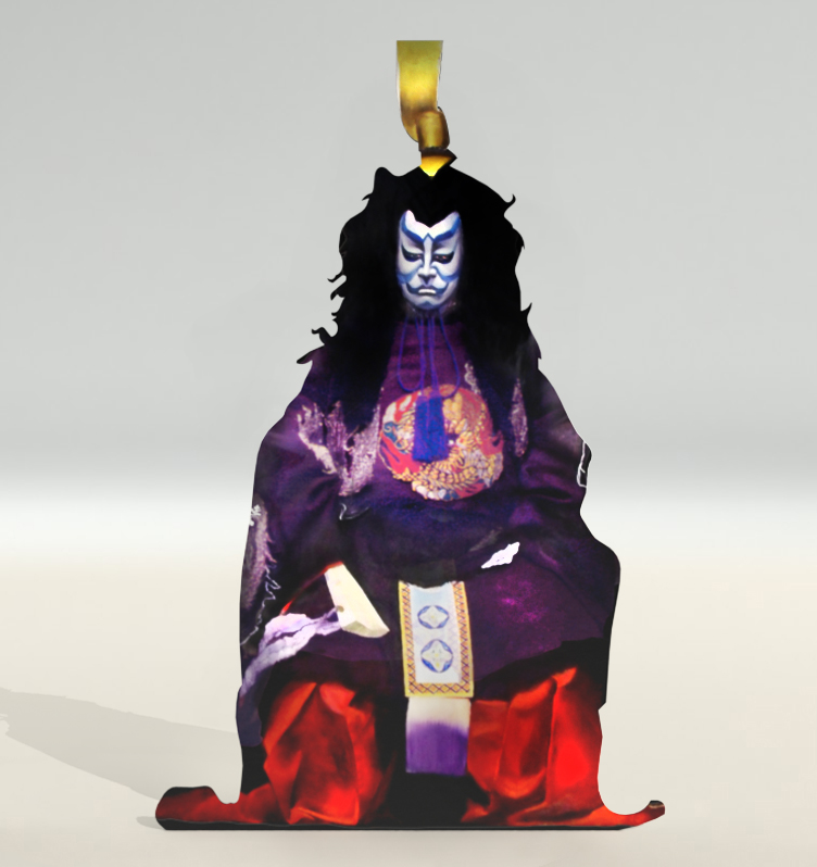 "EMPEROR- Iruka   PLAYED BY ONE OF THREE SONS OF SHIRADAYO Set in the seventh century at the ancient court, this is the most romantic work in the kabuki and most magnificent in scale. In the past one critic likened it to the operas of Wagner with their backdrop of ancient Germanic legend. Soga no Iruka is a historical figure from an old noble family who did actually live in the seventh century; however, in this play he seizes the throne in a coup, banishing the blind emperor Tenji, Iruka – The greatest  Villain among all villains on the Kabuki Stage appears in the ghostly superhuman form of a villainous noble, his face p anted white and blue. In ""Yshinogwa,"" Daihanjo Kiyosumi and Sadaka, widow of the Dazaiclan, who face each other across a river, and are now both unwillingly under the authority of Iruka to cooperate to enable the love of their children Koganosuke and Hinadori to reach fruition, while maintaing their traditional rivalry. As a result of in the increasing power of Iruka, this consideration for each other ends with the two young people of Iruka, this consideration for each other ends with the two young people taking their own lives watching the pair of Lovers from rival families one is reminded of Romeo and Juliet."
