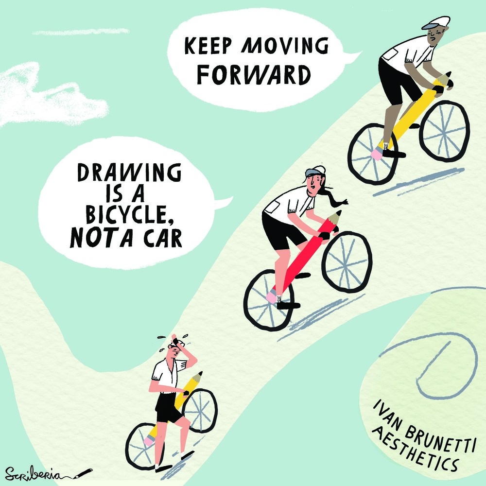 Scriberia hardworking drawing is a bicycle