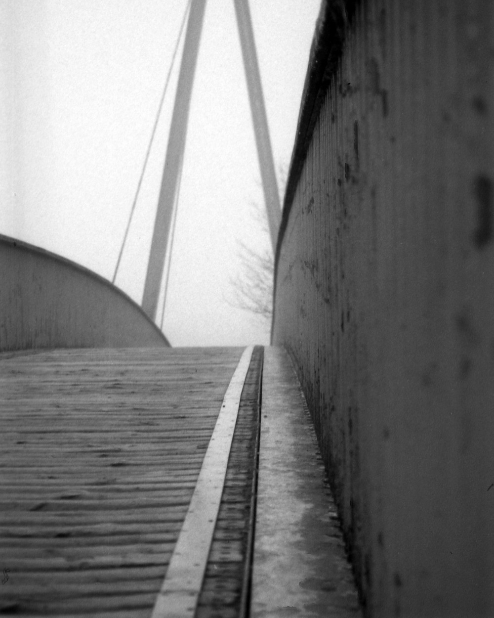 Maiden Castle Bridge, Durham;  Pentax 110 Auto Super/50mm f2.8/Lomography Orca 100