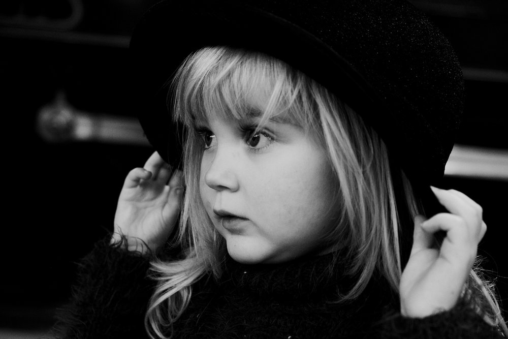 Sophie wears a hat at Locomotion, Shildon